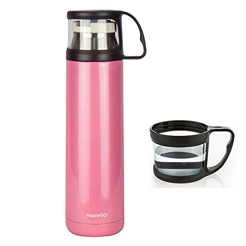 HappyGo 16oz Thermos Travel Mug Vacuum Insulated Tea Coffee Bottle Stainless Steel Handled Cup Drink Bottles for Hot and Cold Beverages Pink (Carafe Leak Proof compare prices)
