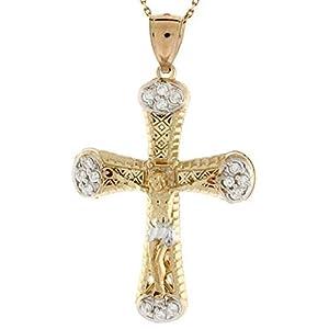 10k Gold CZ Crucifix Jesus Religious Pendant Charm
