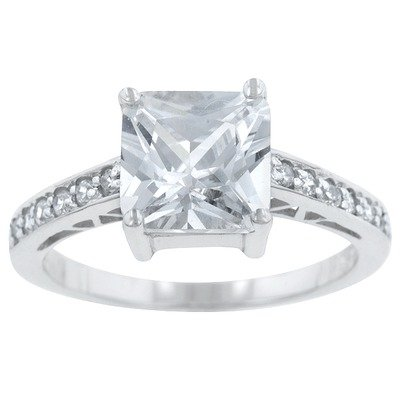 Cubic Zirconia Engagement Ring Size: 9, Color: Princess and Round Cut