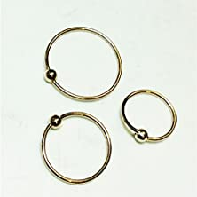 buy Nose Rings,Set Of Three,Gold Over Silver, 8Mm,10Mm,12Mm,Captive Bead, For Lip,Eyebrow, Cartilage,Ears,Nose Body Piercing