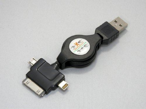 MOBILE-GARAGE巻き取り式 3in1 ライトニング USBケーブル (iPhone5/iPad mini/iPad Retina)/30pinDock(旧世代iPhone・iPad)/マイクロUSB(Wifiルーター等)に1本で対応可能> 充電・同期(データ通信) (ブラック)