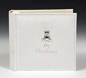 White Suede 'My Christening' Album with Silver Teddy Motif by Shudehill Giftware