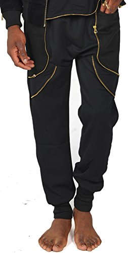Pizoff Unisex Hipster Hip Hop Dance Sports Zips Joggers Harem Casual SweatPants P3149-Black-L (Uniform Wares 200 compare prices)