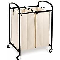 Seville WEB276 Classics 2-Bag Laundry Sorter Cart (Black)