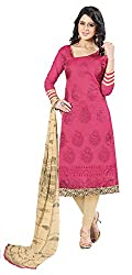 Jiya Presents Embroidered Chanderi Dress Material(Pink,Beige)