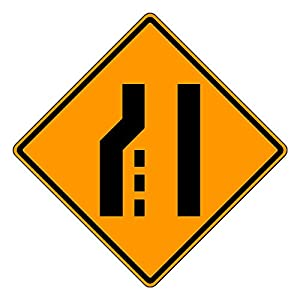 MUTCD W4-2L Left Lane Ends Sign,Orange, 3M Reflective Sheeting, Highest Gauge Aluminum,Laminated, UV Protected, Made in U.S.A