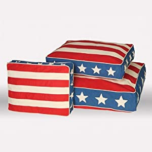 Unleashed Life Patriotic Jefferson Bed Eco-Friendly Dog Bed, Medium