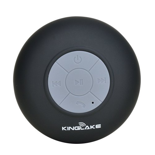 Kinglake® New Waterproof Wireless Bluetooth Shower Speaker Handsfree Speakerphone Compatible With All Bluetooth Devices Iphone 5S And All Android Devices (Black)