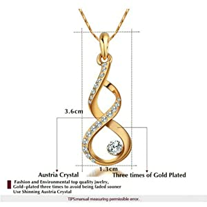 Yoursfs Unique Austrian Crystal Necklace Earrings Jewelry Sets 18k Gold Plated for Wedding Bridal Party
