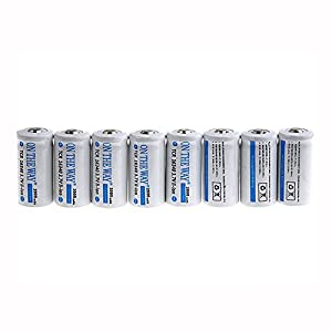 ON THE WAY®8PCS 16340 1000mAh 3.7v White Rechargeable Battery with16340 battery Charger
