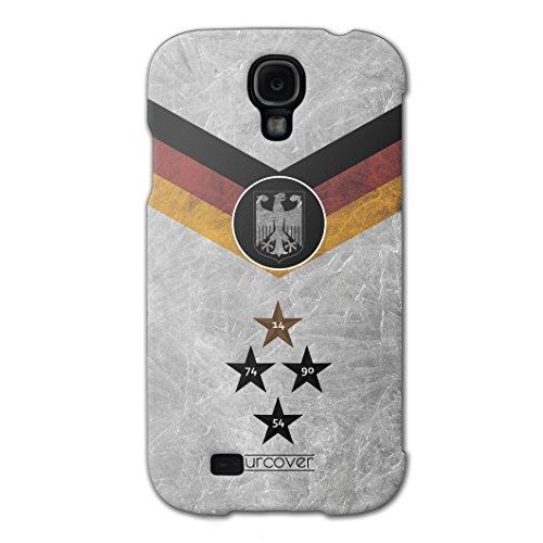 [EM SPEZIAL] Samsung Galaxy S4 Fussball Handyhülle mit Staubschutzkappen von original Urcover® in der UEFA EURO 2016 Edition Galaxy S4 Schutzhülle Case Cover Etui Europameisterschaft 2016 Fahne Fanartikel Team Deutschland