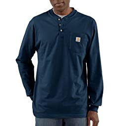 Carhartt Men\'s Workwear Pocket Long Sleeve Henley T-shirt K128,   Navy,   X-Large Tall