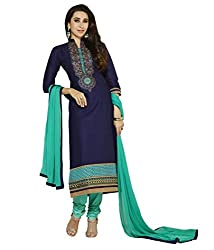 Aarsh Apparel Blue Cotton Embroidery Dress Material