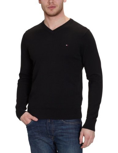 Tommy Hilfiger - Maglia Pacific V-Nk Cf, collo a v, manica lunga, uomo, 060 New Black, Medium
