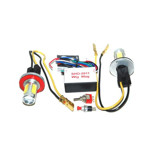 2 Head 15 Watt Hide-A-Way Strobe Kit Red Blue Led Tail Lights Head Lights