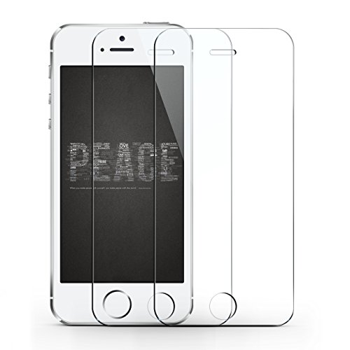 iPhone SE / 5S / 5C / 5 Screen Protector, TOPVISION Crystal Clear [Rounded Edge Tempered Glass] Protective Film - 2PACK (Protective Iphone 5s Glass compare prices)