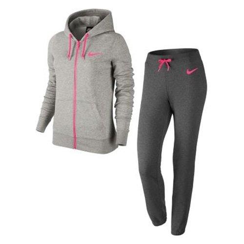 Nike-Tuta club ft Tracksuit, Donna, Club FT Tracksuit, Dunkelgrau/Heidekraut/Hyper Pink, S