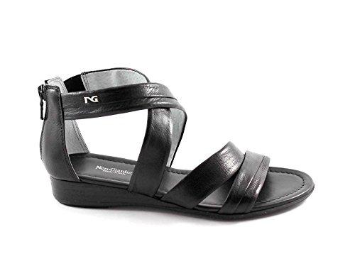 NERO GIARDINI 12660 nero scarpe donna sandali intreccio zip 37