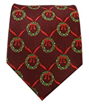 100% Silk Woven Crimson Wreath Patterned Christmas Tie