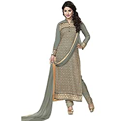 ZHot Fashion Women Embroidered un-stitched Dress Material In Georgette Fabric (ZHRT1005) Gray