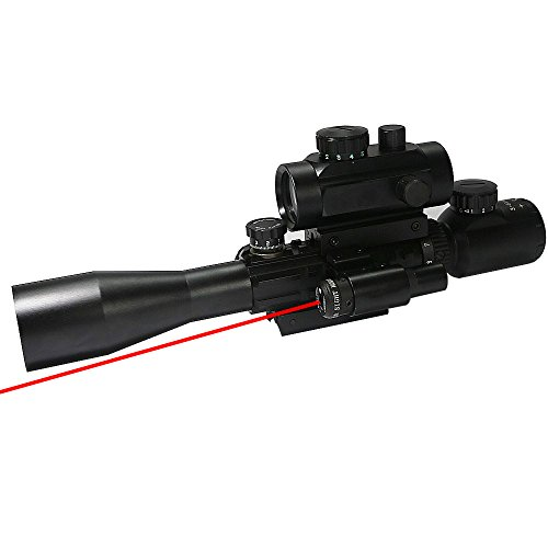 WNOSH Tactical 3-9x40mm Illuminated Rifle Scope with Red Laser and Red Dot Sight of Red / Green Reticle Mount