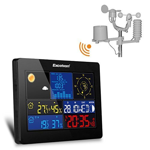 Excelvan professional Home All-in-1 Large Color LCD display Wireless Weather Station with Thermo-hygro sensor, Wind Speed & Rain, Temperature, Humidity, Barometer, Moon Phase by Excelvan