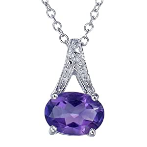 "Sterling Silver Amethyst Pendant (1.20 CT) With 18"" Chain"