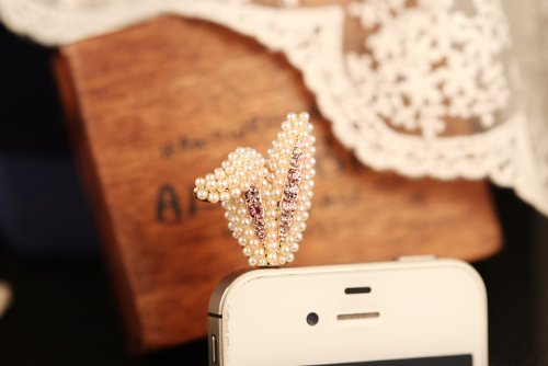 Big Mango Cute Rabbit Ears And Bling Rhinestone Anti Dust Plug Stopper / Ear Cap / Cellphone Charms For Apple Iphone 5 Iphone 4 4S ,Ipad Mini Ipad 2 ,Ipod Touch 5 4,Samsung Galaxy S3 S4 Note3 Note 2,Htc And Other 3.5Mm Earphone Jack Phones ( Pink )
