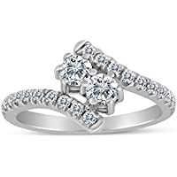 SK Jewel Inc 0.65ctw Diamond Two Stone Ring in 10k White Gold