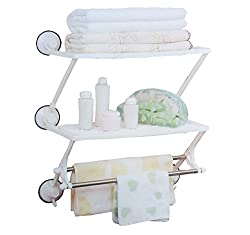 BATH RACK WITH TWO LAYER & TWO ROD with Suction CUP HOLDERS