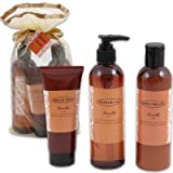 Vanilla Organic Bath Gift Set in Silk Pouch (Body Butter, Shower Gel, Body Cream)