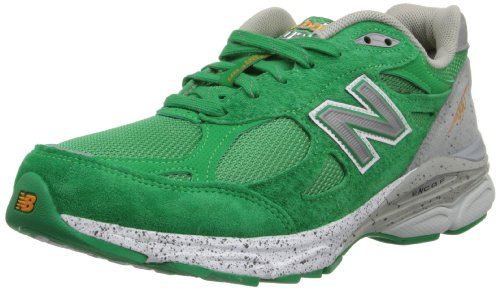 New Balance Women's W990V3 Boston Marathon Running Shoe,Green/Grey,9.5 B US