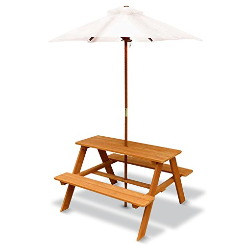 Outward Play Sunset Wooden Picnic Table with Umbrella
