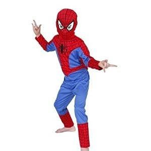 Spiderman traje, pequeña 3-4 años jumsuit, y una máscara de tela.