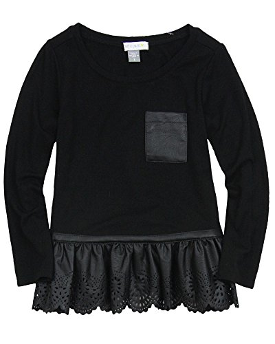 Petit Lem Little Girls' Glam Rock Long Sleeve Tunic, Black, 6