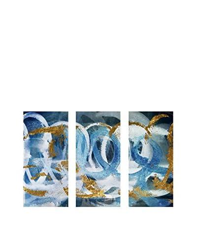 "Oliver Gal ""Scriptica Gold & Blue"" Triptych Canvas Art"
