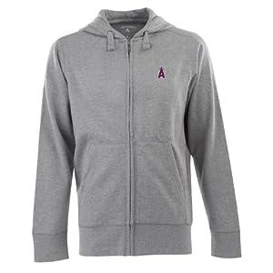 Los Angeles Angels Signature Full Zip Hooded Sweatshirt (Grey) by Antigua