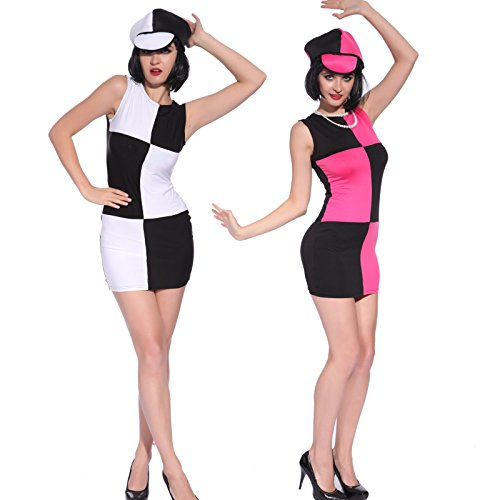 Swinging 60s 70s Ladies Fancy Dress Fever Disco Party Costume Outfit & Hat