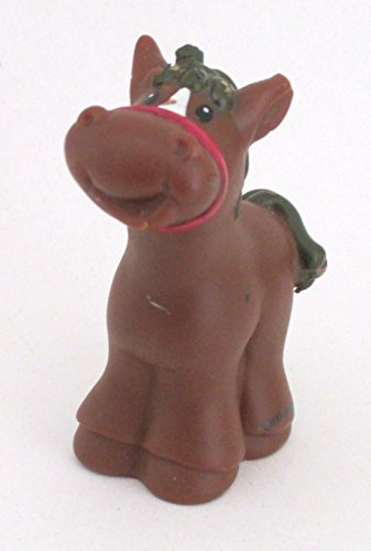 Little People Brown Horse with Red Bridle (2003) - Replacement Figure - Classic Fisher Price Collectible Figures - Loose Out Of Package & Print (OOP) - Zoo Circus Ark Pet Castle