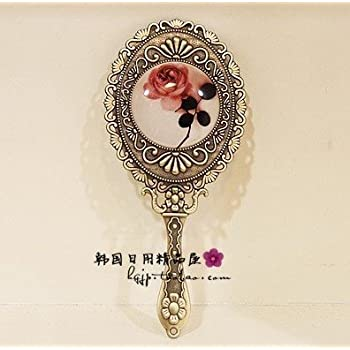 Vintage Mirror Cosmetic Makeup Antique Retro Vanity Decorative Glass Art Design Ornaments - Handheld Hand Mini Small Ornate Rose Classic