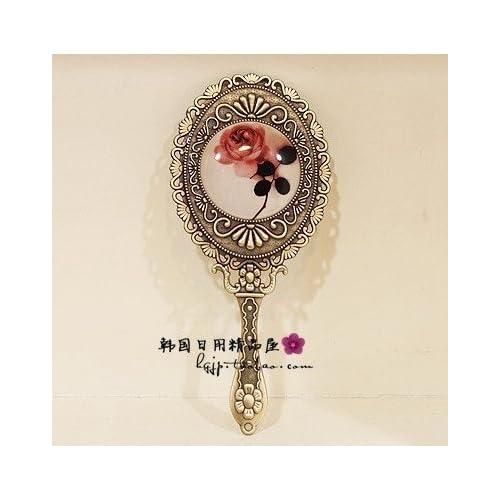 Vintage Mirror Cosmetic Makeup Antique Retro Vanity Decorative Glass Art Design Ornaments - Handheld Hand Mini Small Ornate Rose Classic