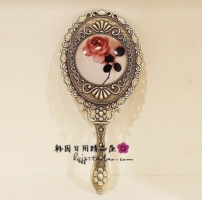 Vintage Mirror Cosmetic Makeup Antique Retro Vanity Decorative Glass Art Design Ornaments - Handheld Hand Mini Small Ornate Rose Classic 0