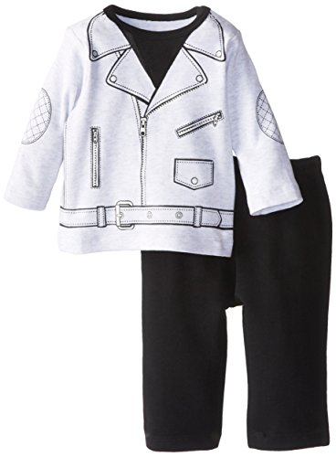 Little Me Baby-Boys Newborn Motorcycle Pant Set, Black Multi, 9 Months front-947630