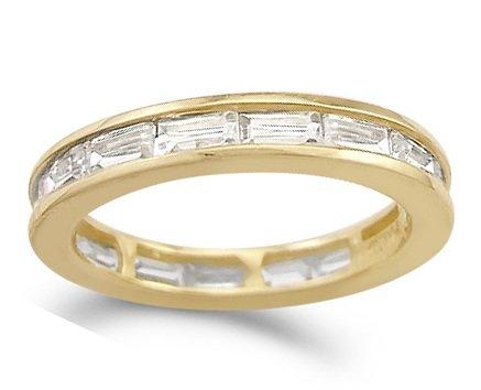 CZ Wedding Eternity Ring 14k Yellow Gold Band Cubic Zirconia (1.00 CT), Size 8