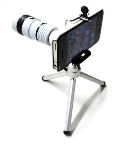 Iphone 4 4S Camera Lens Kit Including 8X Telephoto Lens / Mini Tripod / Universal Phone Holder / Hard Case For Iphone / Velvet Phone Bag / Cleaning Cloth