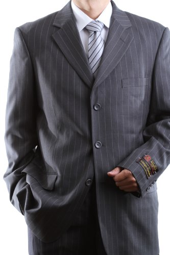 Men's Single Breasted 3 Button Gray Pinstripe Super 150′s Wool Feel Dress Suit