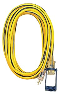 Voltec Voltec 05-00111 14/3 SJTW Outdoor Extension Cord with E-Zee Lock and Lighted End, 25-Foot, Yellow with Blue Stripe