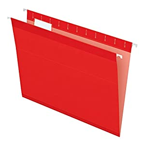 Pendaflex Reinforced Hanging Folders, Letter Size, Red, 25 per Box (4152 1/5 RED)