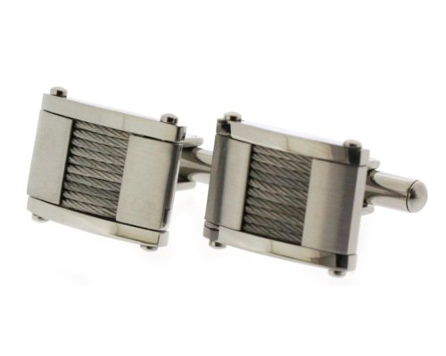 Edforce Stainless Steel Cuff Links with Steel Cable Wires