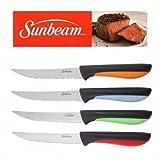 Sunbeam Steak Knives Set of 4 Stainless Steel Blades Red Green Orange Blu Handle